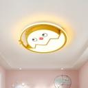 Cracked Egg Flush Mount Ceiling Light Cartoon Acrylic Yellow LED Flushmount Lighting in Warm/White Light