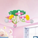 Cartoon Bee and Flower Ceiling Flush Wood 6 Heads Bedroom Semi Flush Mount Chandelier in Green and Pink