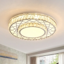 2-Tier Round Crystal Flush Mount Minimalist Hotel LED Ceiling Lighting with Crisscrossed Pattern in Stainless Steel