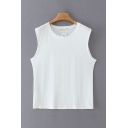 Summer Womens Solid Color Crew Neck Sleeveless Regular Fitted Tank Top
