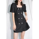 Chic Girls Checkered Print Puff Sleeve Square Neck Double Breast Short A-line Dress in Black