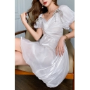 Adorable Womens White Satin Puff Sleeve V-neck Twist Front Bow Tied Short Pleated Flared Cocktail Dress