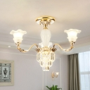 3/6 Heads Crystal Semi Mount Lighting European Style Gold Flower Shade Bedroom Flush Light Fixture