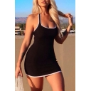 Sexy Womens Halter Contrasted Piped Knit Short Tight Tank Dress in Black