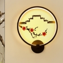 Wall and Peach Branch Painting Mural Lamp Chinese Ceramic Bedside Decorative LED Sconce in Black