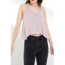 Pretty Ladies Sheer Mesh Strappy V-neck Relaxed Fit Cami Top in Pink