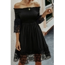 Sexy Ladies Black Lace Patched 3/4 Sleeve Off the Shoulder Mid Pleated A-line Dress