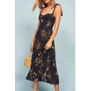 Gorgeous Womens Allover Flower Print Stringy Selvedge Bow Tied Shoulder Ruffled Trim Mid Pleated A-line Cami Dress in Navy