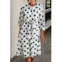Trendy Ladies Polka Dot Pattern 3/4 Sleeve Crew Neck Bow Tied Mid A-line Dress