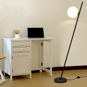 Black Leaning Floor Light Minimalistic 1 Head Iron Stand Up Lamp with Foot Switch and Globe Milk Glass Shade