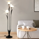 Modern 3-Head Stand Up Lamp Black/White Tree Design Floor Light with Bird and Flower Opal Glass Shade