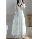 Hepburn Style Womens Polka Dot Pattern Contrasted Short Sleeve V-neck Lace-trimmed Maxi Pleated A-line Dress in White