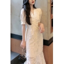 Sexy Womens Lace Puff Sleeve V-neck Ruched Ruffled Hem Mid Fishtail Dress in White