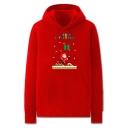 Fancy Mens Snow Santa Claus Present Letter Merry Christmas Printed Pocket Drawstring Long Sleeve Regular Fit Graphic Hoodie