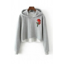 Leisure Rose Embroidered Long Sleeve Drawstring Relaxed Cropped Hoodie in Gray