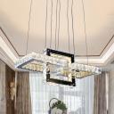 Minimalist 3-Square Frame Pendulum Light Clear Crystal Living Room LED Chandelier