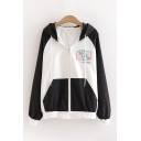 Preppy Girls Japanese Letter Dinosaur Graphic Colorblock Long Sleeve Hooded Zip up Drawstring Relaxed Jacket