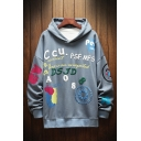 Fancy Floral Letter Ccu Accident Printed Drawstring Long Sleeve Regular Fitted Graphic Hooded Sweatshirt for Men