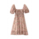 Glamorous Womens Ditsy Floral Printed Pleated Ruffle Cuff Square Neck Short Puff Sleeve Short Smock Dress in Pink