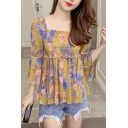 Popular Womens All over Floral Printed Bell Sleeve Square Neck Pintuck Ruffle Hem Relaxed Blouse Top