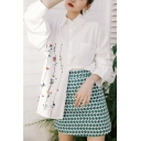 Chic Womens Floral Embroidery Print Pocket Button Down Collar Long Sleeve Relaxed Fit Shirt in White