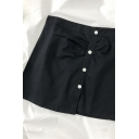 Trendy Solid Color Pleated Button Down High Rise Short A Line Skirt for Womens
