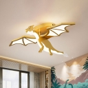 Gold Finish Pterosaur Shape Flushmount Cartoon LED Metal Semi Flush Mount for Boys Bedroom