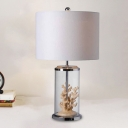 1-Light Cylindrical Table Lighting Countryside White Fabric Night Stand Lamp with Coral Decor