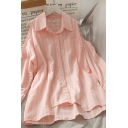 Hot Popular Womens Striped Button Down Pocket Collared Long Cold Shoulder Relaxed Fit Asymmetric Tunic Blouse