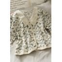 Vintage Girls Button Down Butterfly Print Floral Embroidery Patched Lace Peter Pan Collar Short Puff Sleeve Regular Fit Crop Shirt