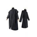 Cool Womens Long Sleeve Stand Collar Fabric Button down Long Oversize Coat in Black