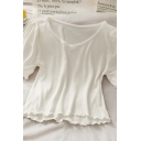 Stylish Womens Solid Color Ruffle Trim Crew Neck Short Puff Sleeve Regular Fit Crop Tee Top