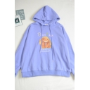 Novelty Letter Bam Bam Cartoon Rabbit Printed Patchwork Drawstring Long Sleeve Relaxed Fit Hooded Sweatshirt for Girls