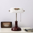 1 Light Table Light Countryside Half Cylinder Printing Glass Reading Book Lamp with Wood Base in Red Brown
