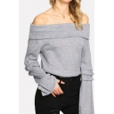 Fashion Womens Patched Long Sleeve Foldover Off the Shoulder Loose T Shirt in Gray