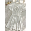 Chic Solid Color Lace Up Pleated Stringy Selvedge Sweetheart Neck Short Puff Sleeve Midi A Line Dress for Ladies