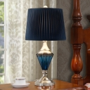 1 Head Nightstand Light with Drum Shade Pleated Fabric Traditional Parlour Desk Lamp in Blue