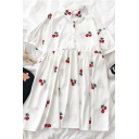 Cute Girls Cherry Printed Button Pleated Collar Short Puff Sleeve Midi Smock Dress in White