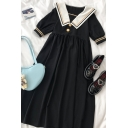 Cool Girls Patchwork Striped Button Detail Pleated Sailor Collar Short Puff Sleeve Midi Swing Dress in Black