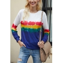 Leisure Womens Long Sleeve Crew Neck Tie-dye Rainbow Ombre Loose T-shirt in White