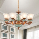 6/8 Heads Chandelier Light Fixture with Flower Shade Milky Glass Traditional Dining Room Ceramics Pendant in Brown