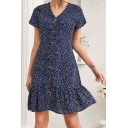 Vintage Womens All over Print Button down Ruffle Hem V Neck Short Sleeve Chiffon Mini Sheath Dress in Blue