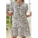 Fancy Womens Ditsy Floral Printed Short Sleeve V-neck Bow-tie Ruffled Trim Short A-line Dress in White