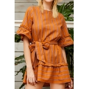 Popular Womens Stripe Printed Bell Sleeve Round Neck Bow Tied Waist Ruffled Short A-line Dress in Coffee