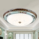 White Glass Dome Ceiling Flush Traditional 13