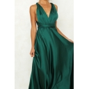 Gorgeous Womens Plain V-neck Crisscross Back Bow Tied Maxi Pleated A-line Tank Dress