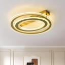 Gold Dual Ring Flush Lighting Fixture Minimal LED Metal Flush Mounted Lamp for Bedroom, 16
