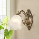 Copper/Bronze 1/2-Light Wall Lighting Idea Antiqued Cream Glass Flower Shade Wall Mounted Lamp Fixture
