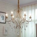 Gold Candelabra Hanging Light Fixture Rustic Metallic 6-Bulb Dining Room Chandelier with Scroll Arm and Crystal Strand