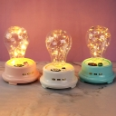 Clear Glass Bulb Shaped Table Light Macaron Blue/Pink/White LED Nightstand Lamp with USB Cable